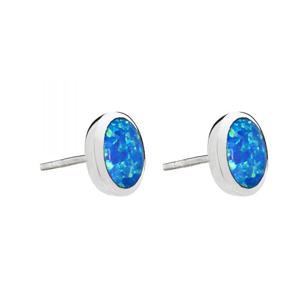 Sterling Silver Blue Opal Round Stud Earrings