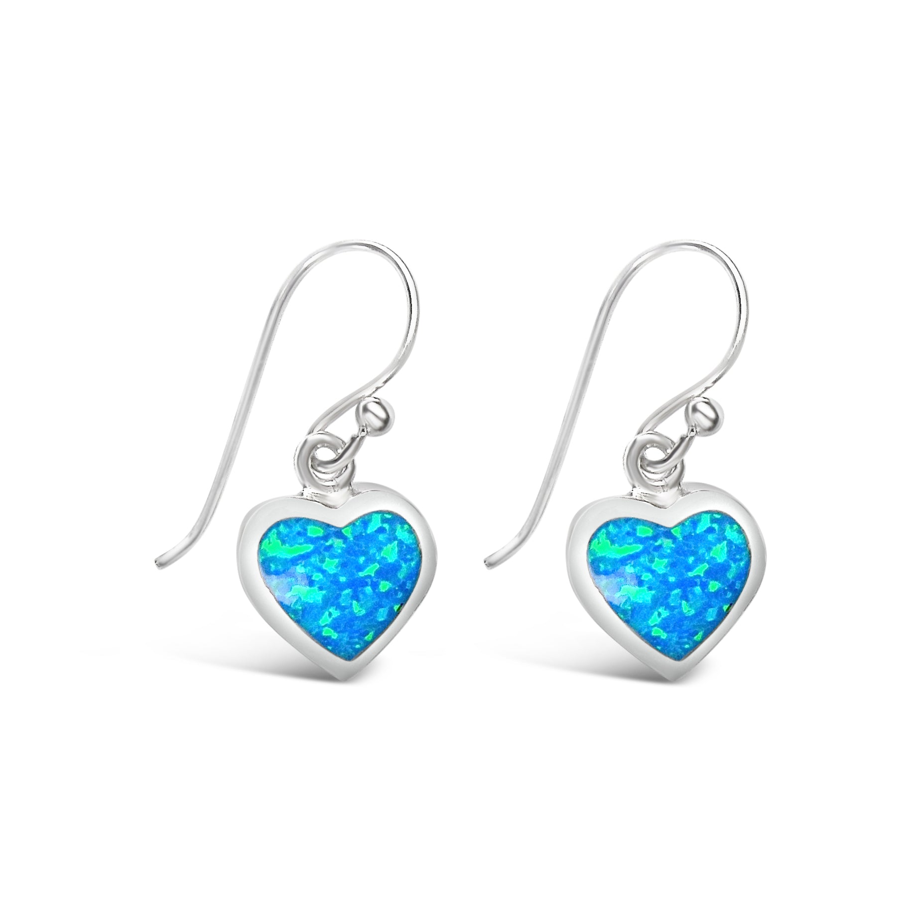 Sterling Silver Blue Opal Heart Earrings