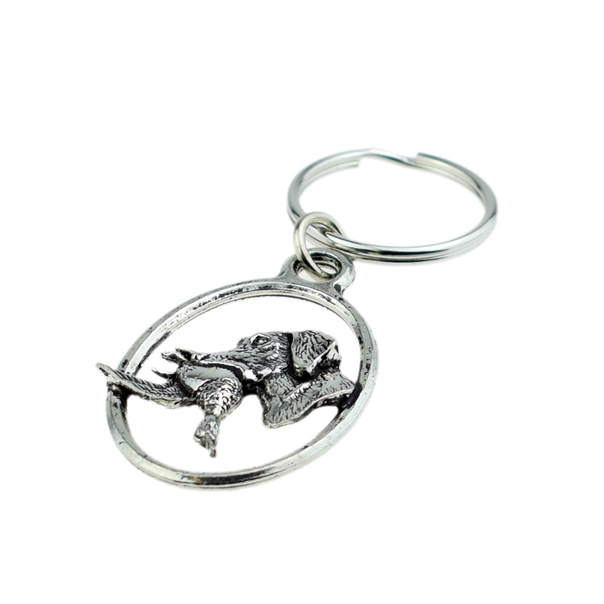 Pewter Retriever with duck Keyring