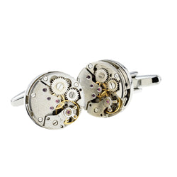 Real Watch Movement Mechanism Cufflinks