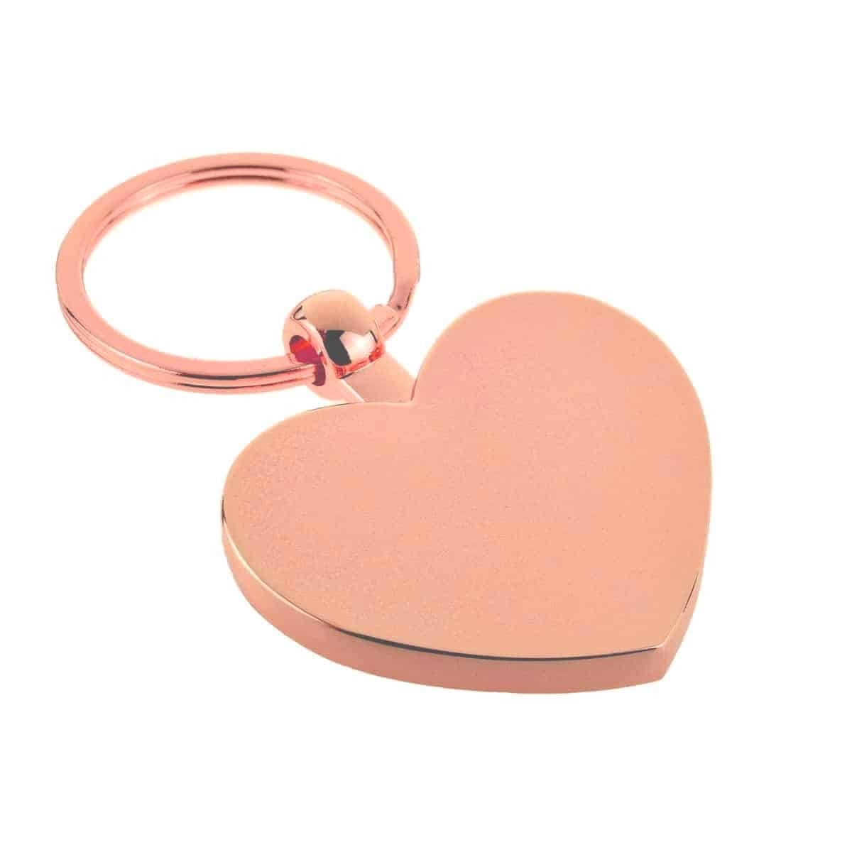 Personalised Rose Gold Finish De Luxe Heart Shaped Keyring (engravable)