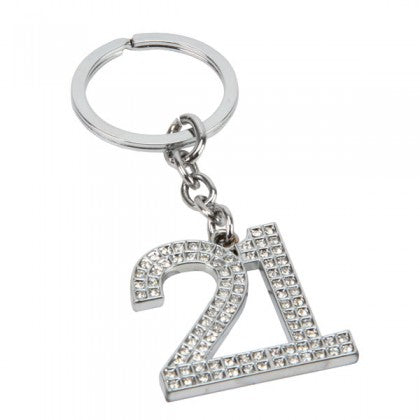 Crystal encrusted 21st Birthday Keyring in Gift Box