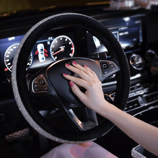 (LAST DAY PROMOTION-55% OFF) SWAROVSKI CRYSTAL STEERING WHEEL COVER FOR ANY CAR
