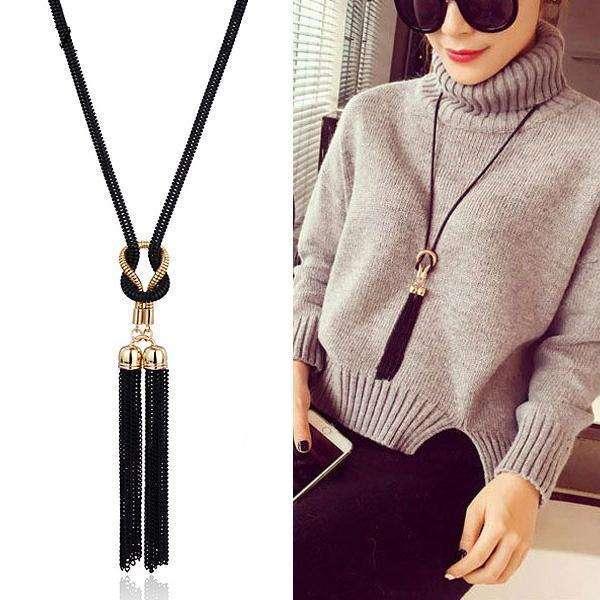 Long Necklace Gold Black Color