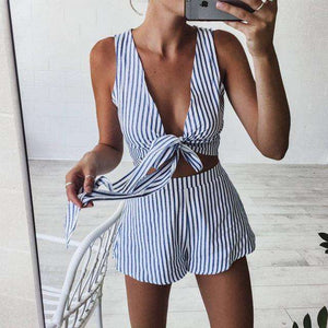 Two Piece Set Blue Striped Playsuits