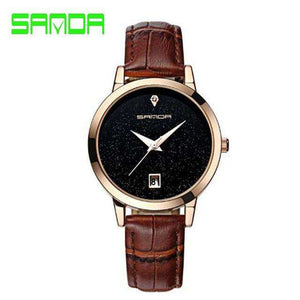 SANDA quartz waterproof leather watch