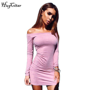 Off shoulder Women Suede Dress