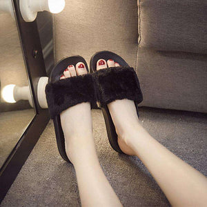 Fluffy Faux Fur Flat New Fashion