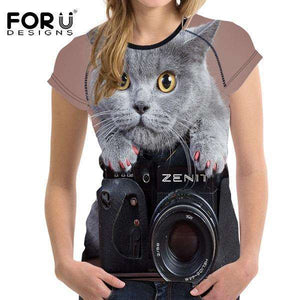 3D Cat Female Fitness Tops