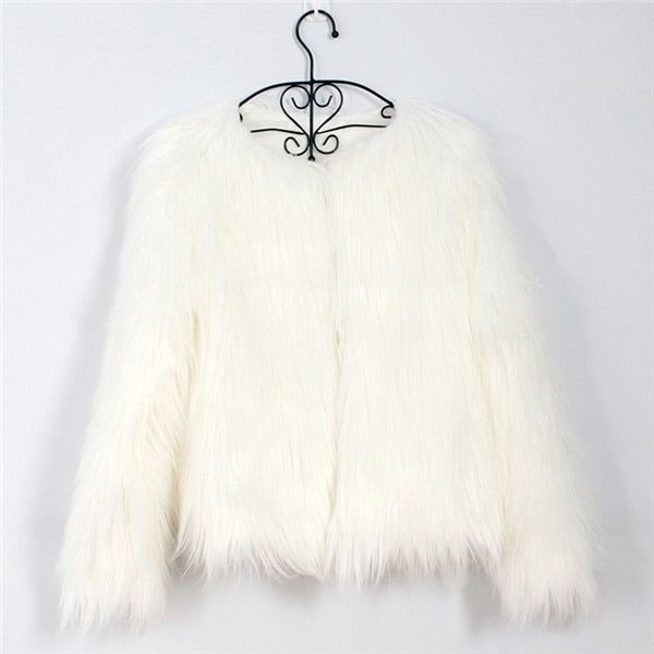 Autumn Winter Coat Jacket Hairy Collarless