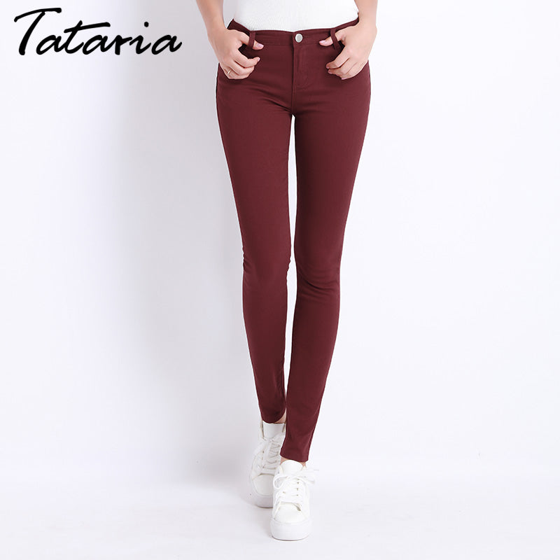 Jeans Female Denim Pants Candy Color