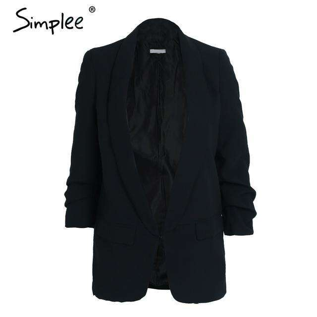 Ruched sleeve black suit blazer Cool
