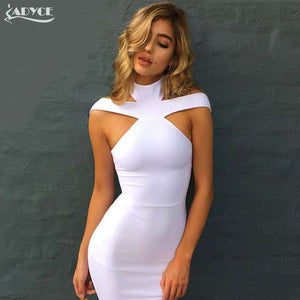 Halter White khaki black Club Dresses