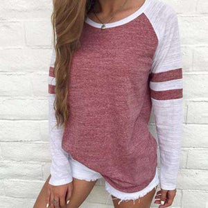 Striped Splicing Baseball Tshirt