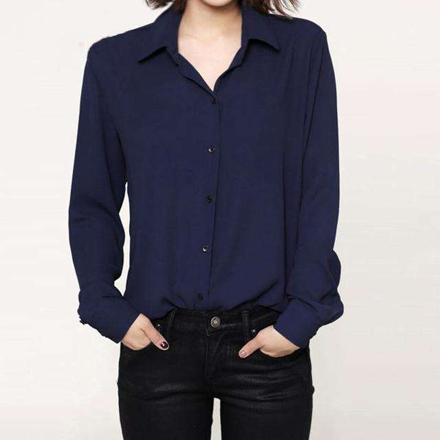 Lapel long sleeve shirts