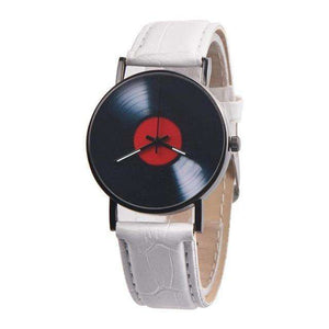 Retro Vinyl Records Design Leather Watch