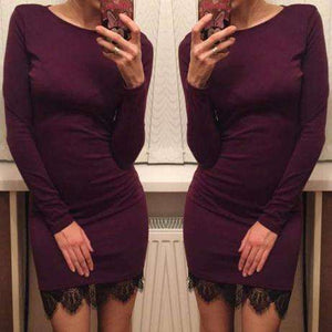 Fit Ladies Elegant lace solid Dress