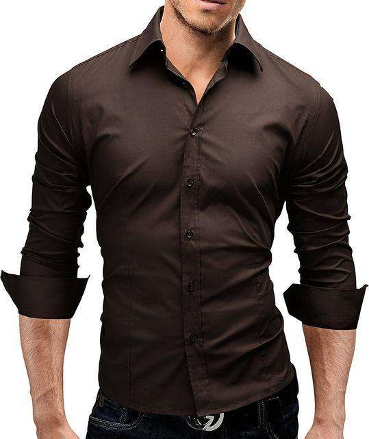 Male Shirt Long-Sleeves Tops Slim