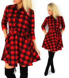 Autumn Plaid Explosions Leisure Dress