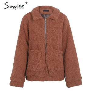 Simplee Faux lambswool oversized jacket