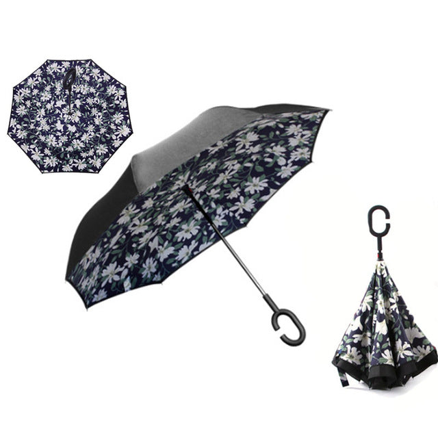 Reverse Folding Windproof DOUBLE-LAYER HANDS-FREE INVERTED UMBRELLA
