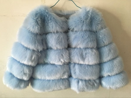 FAUX Fur Coat Elegant Thick Warm