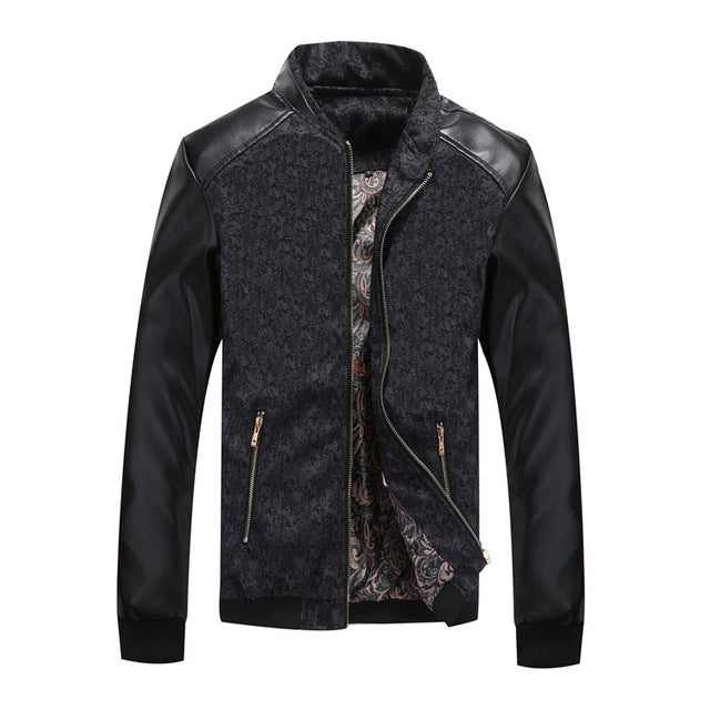 PU Leather Patchwork Men's Jackets