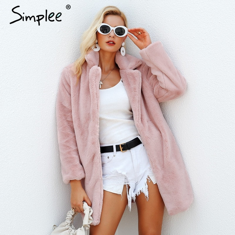 Simplee Elegant pink shaggy women faux