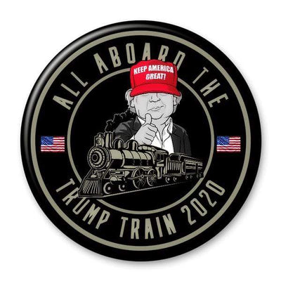 All Aboard the Trump Train 2020 pin button