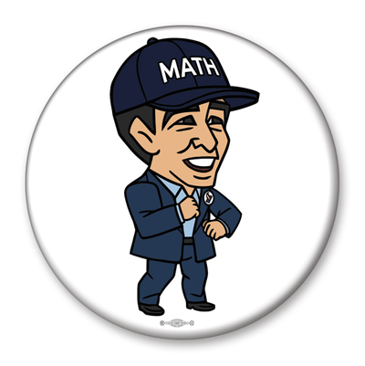 Andrew Yang Caricature MATH 2020 Campaign Pinback Button / AY-307 - Buttonsonline