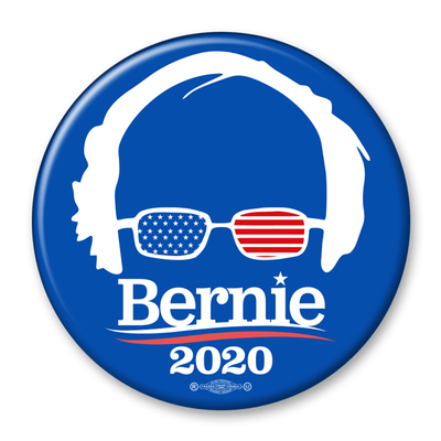Bernie Sanders 2020 USA Glasses Pinback Button / BS-309 - Buttonsonline