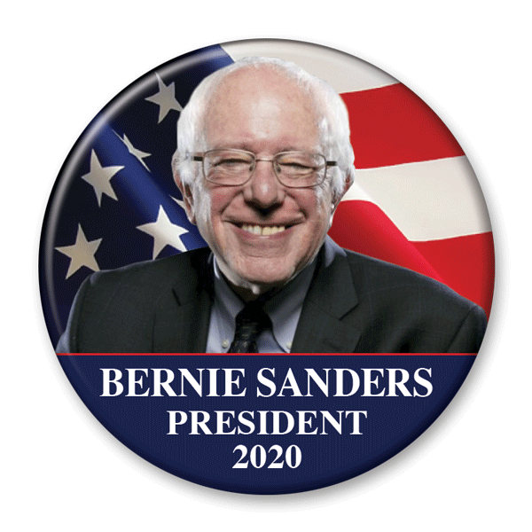Bernie Sanders 2020 Flag Photo Campaign Pinback Button / BS-301 - Buttonsonline