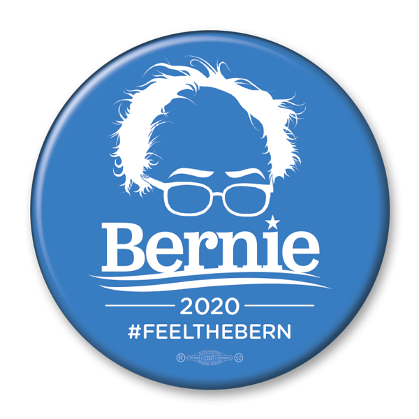 Bernie Sanders 2020 Hair & Glasses Campaign Pinback Button / BS-304 - Buttonsonline
