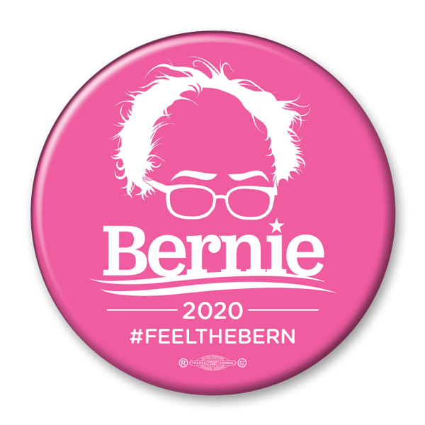 Bernie Sanders 2020 Pink Hair & Glasses Campaign Pinback Button / BS-313 - Buttonsonline