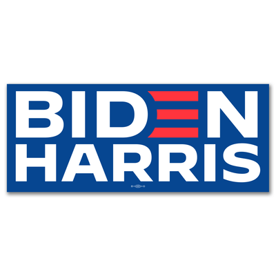 Biden Harris Presidential Campaign Bumper Sticker, blue with white letters and red E, JB-BS-605