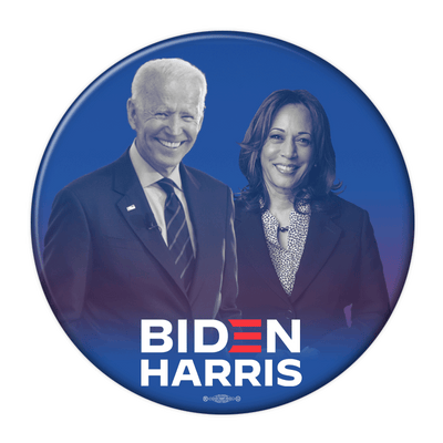 Biden Harris Photo Pin Back Button