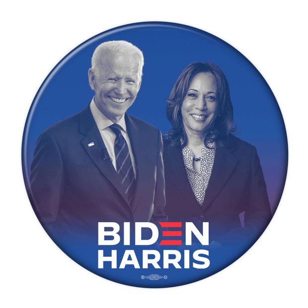 Biden Harris Photo Pin Back Button , blue background, JB-320