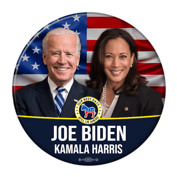 Biden Harris 2020 Photo Campaign Pinback Button, flag background with Democratic donkey, JB-321