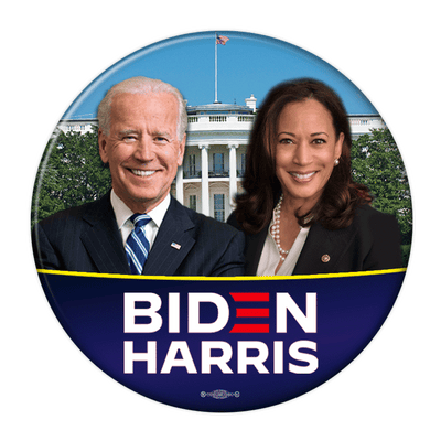 Biden Harris 2020 Presidential campaign pinback button,White House background with photos, JB-322