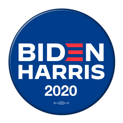 Biden Harris 2020 Campaign pinback button, blue with white text, red E, JB-319