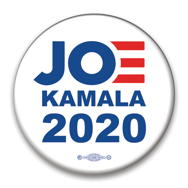 Joe, Kamala 2020 Presidential campaign button, pinback, white with blue text and red E, JB-325