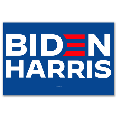"Biden Harris 2020 Presidential campaign rally sign, 12"" x 18"" with blue background, wite text and Red E, JB-Sign -3"