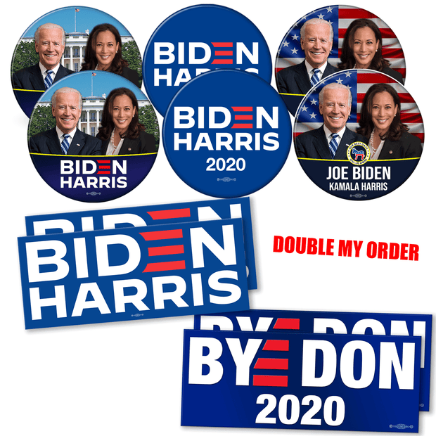 Double order of-Biden Harris 2020 campaign button and bumper sticker bundle. White house photo button, american flag photo button and official biden harris logo button and BYE DON and Biden Harris Logo bumper stickers, JB-SB-1