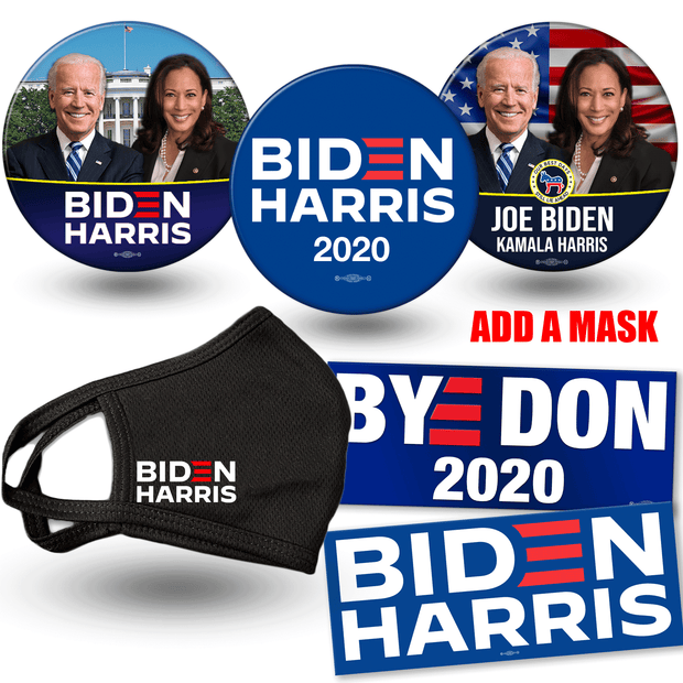 Add a mask to Biden Harris 2020 campaign button and bumper sticker bundle. White house photo button, american flag photo button and official biden harris logo button and BYE DON and Biden Harris Logo bumper stickers, JB-SB-1