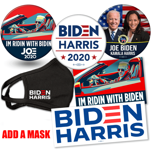 Add a mask to-Biden Harris 2020 campaign button and bumper sticker bundle. Ridin with Biden button, american flag photo button and official biden harris logo button and Ridin with Biden and Biden Harris Logo bumper stickers, JB-SB-2