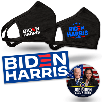 Biden Harris Supporter Bundle, white logo mask, blue logo with stars mask, Biden Harris blue bumper sticker, Flag background Biden Harris button, JB-SB-6