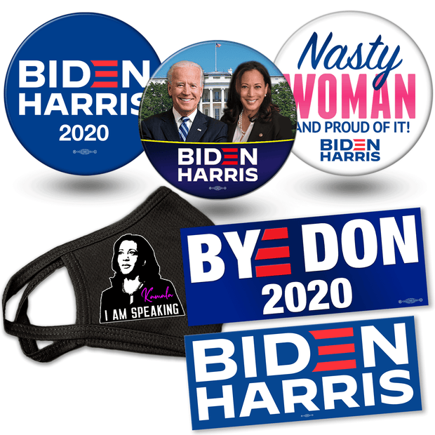 Biden Harris 2020 campaign button, mask and bumper sticker bundle. White house photo button, Nasty Woman button and official biden harris logo button, BYE DON and Biden Harris Logo bumper stickers, I am Speaking Kamala Mask, JB-SB-8