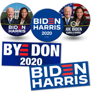 Biden Harris 2020 campaign button and bumper sticker bundle. White house photo button, american flag photo button and official biden harris logo button and BYE DON and Biden Harris Logo bumper stickers, JB-SB-1