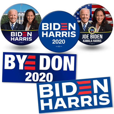 Biden Harris campaign buttons and sticker bundle. White house photo button, american flag photo button and offical biden harris logo button and stickers