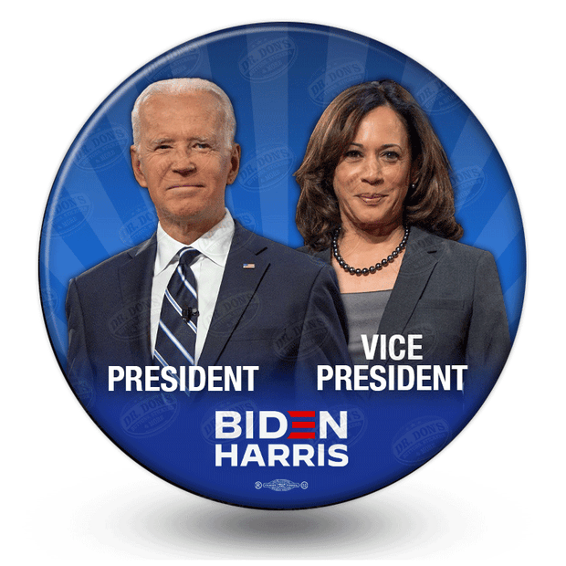 Biden Harris 2020 Campaign Photo Button, President, Vice President pinback button, Blue rays in background, JB-329